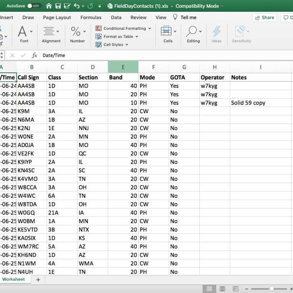 Field Day Logger - Excel Export